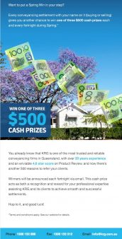 KRG Conveyancing Queensland spring promotion